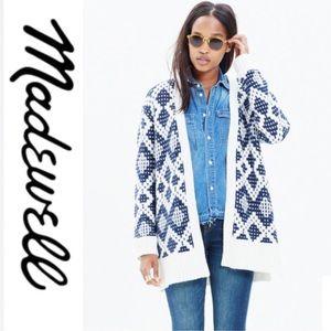 Madewell Blue Contrast Fair Isle Cardigan Sweater